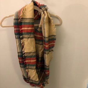 Plaid soft infinity scarf.